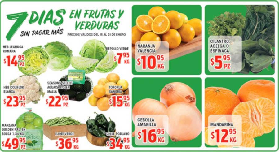 Frutas y Verduras HEB del 15 al 21 de enero de 2019