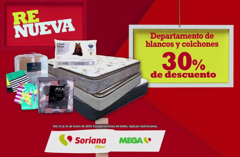 Rebajas Soriana y Mega Soriana 30% de descuento en blancos y colchones