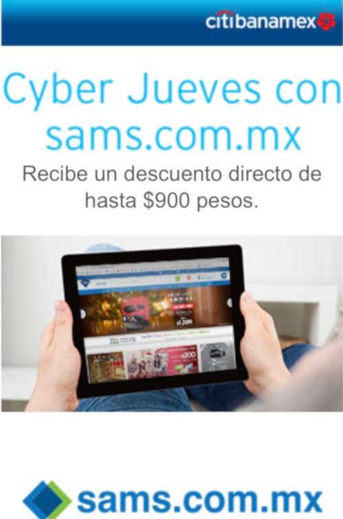 Sams Club: Cyber Jueves Citibanamex Citipay hasta $900 de descuento