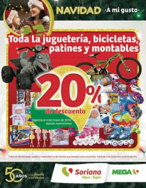 Soriana: 20% de descuento en toda la juguetería del 2 al 4 de Enero 2019
