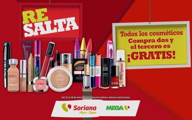 Ofertas Soriana y MEGA Soriana: 3×2 en cosméticos del 25 al 28 de enero 2019