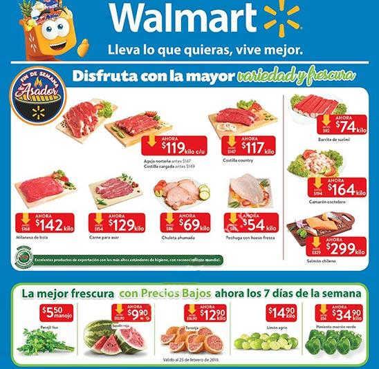 Carnes frutas y verduras Walmart del 22 al 25 de febrero de 2019