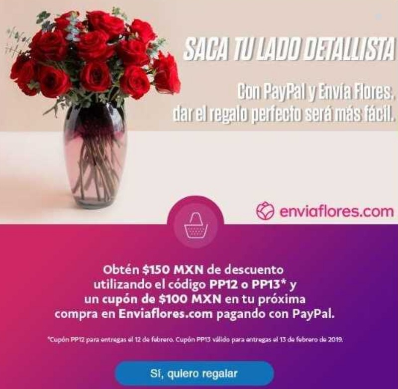 EnviaFlores: Ofertas de San Valentín $150 de descuento al 13 de febrero 2019