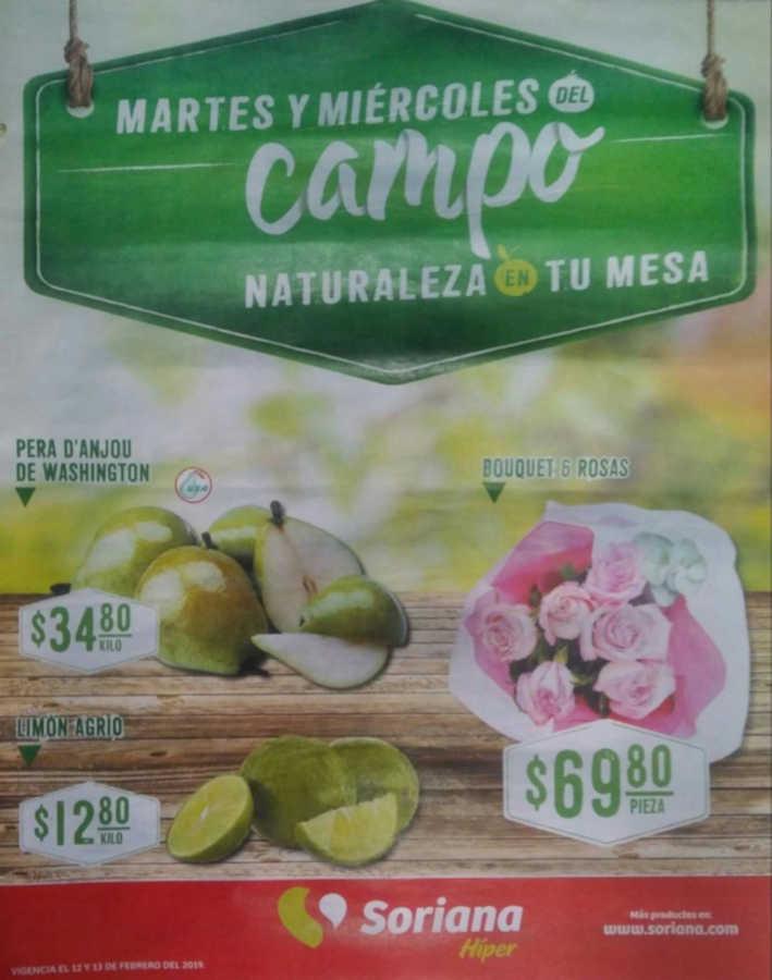Frutas y Verduras Soriana 12 y 13 de febrero 2019