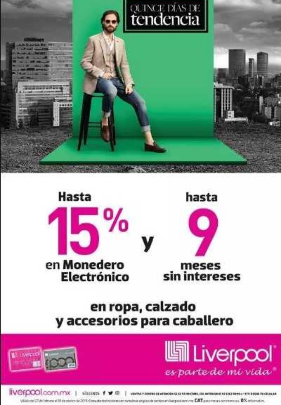 aa6345a3b Promoción Liverpool Quince días de tendencia 15% de descuento en moda y  calzado
