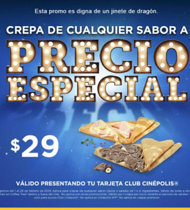 Promoción Cinépolis Crepas de cualquier sabor a $29 con Club Cinépolis