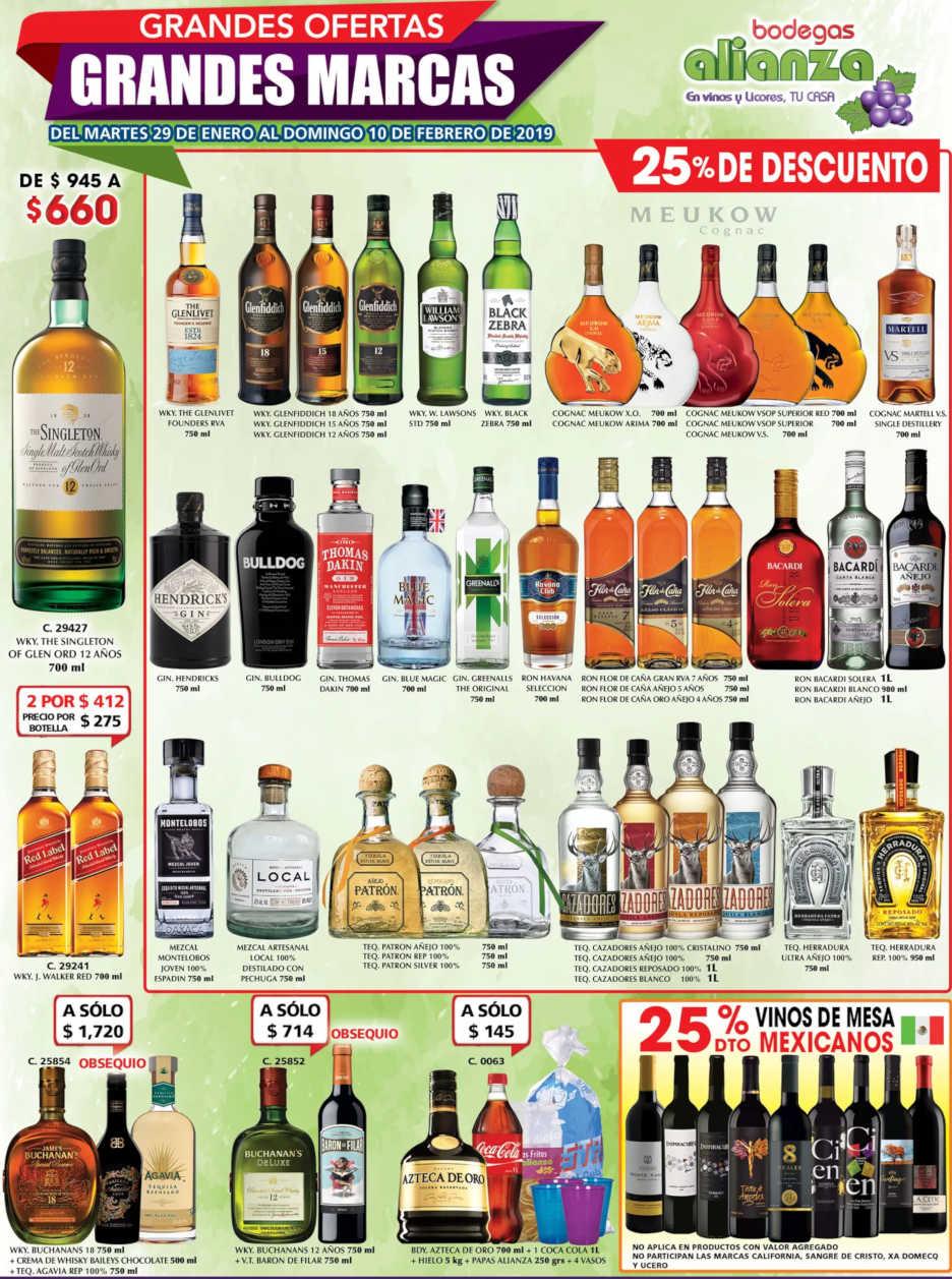 Promociones Bodegas Alianza Vinos y Licores del 6 al 10 de Febrero 2019