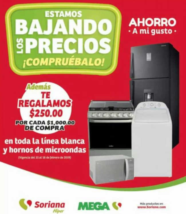 Soriana y MEGA Soriana: $250 de descuento en línea blanca y hornos de microondas