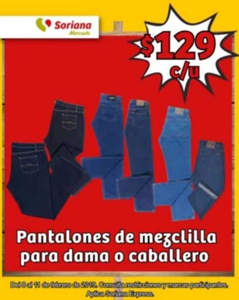 Soriana Mercado: pantalones de mezclilla para dama y caballero a $129