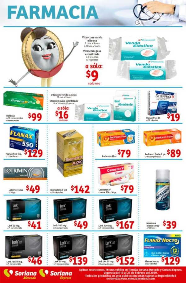 Soriana Mercado: Ofertas en Farmacia del 19 al 25 de febrero de 2019