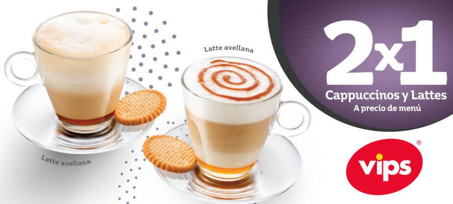 Vips: 2×1 en cappuccinos y lattes a precio de menú al 30 de abril de 2019