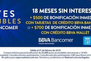 Walmart: Jueves Imperdible $500 o $700 de bonificación con Bancomer