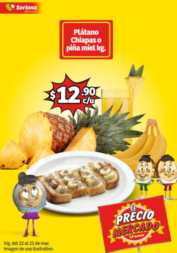 Ofertas Soriana Mercado Frutas y Verduras del 22 al 25 de marzo 2019