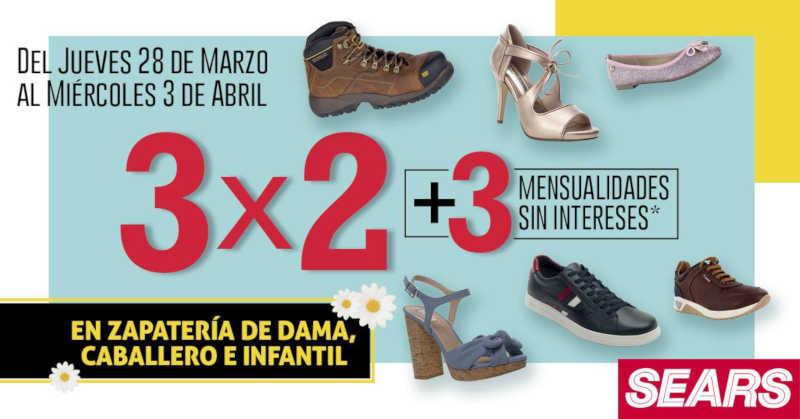 Sears: 3×2 en calzado para caballeros, damas y niños