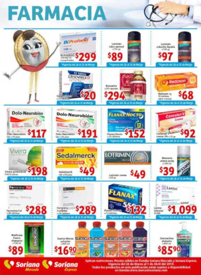 Soriana Mercado y Express: Ofertas en Farmacia del 26 de Marzo al 01 de Abril 2019