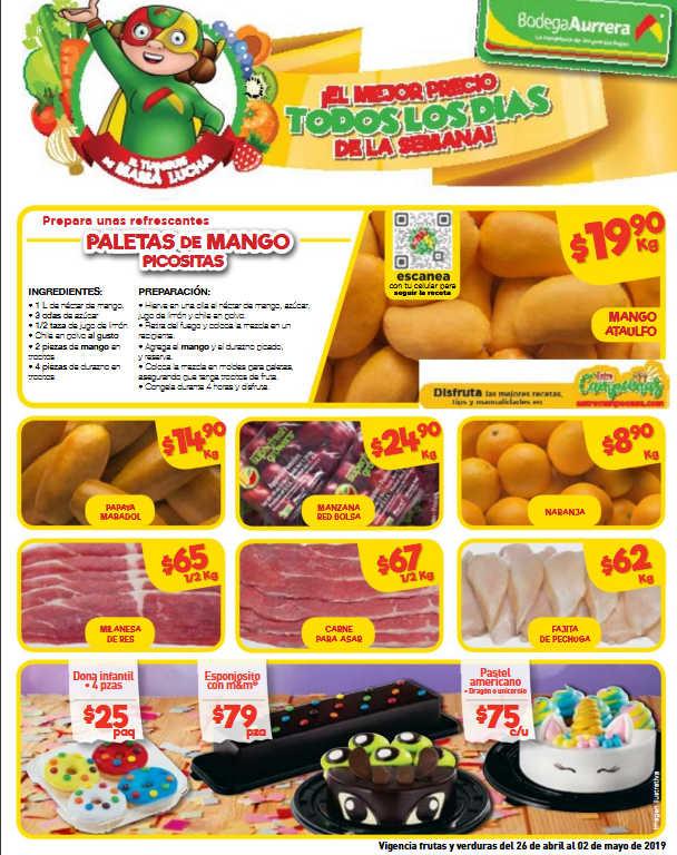 Bodega Aurrerá: frutas y verduras Tianguis de Mamá Lucha 26 de abril al 2 de mayo 2019