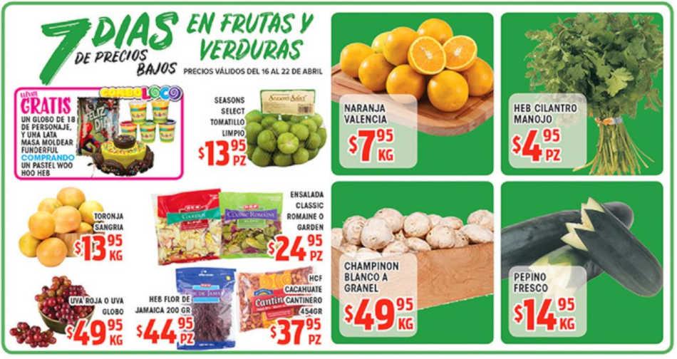 Frutas y Verduras HEB del 16 al 22 de Abril 2019