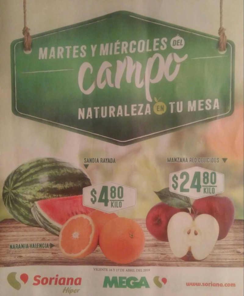 Frutas y Verduras Soriana 16 y 17 de Abril 2019