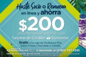 Sams Club $200 de descuento con Santander al Hacerte Socio o Renovar y Gratis caja de Pediasure Plus