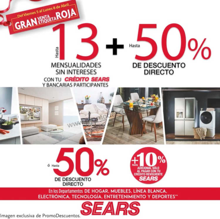 Sears: Venta Nocturna de Etiqueta Roja del 5 al 8 de Abril de 2019