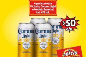 Promocion Soriana Mercado Cerveza Corona, Victoria o Modelo Especial 4 pack a $50 pesos