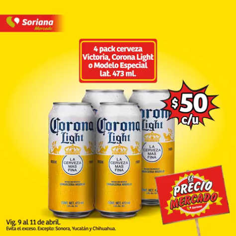Soriana Mercado: Cerveza Corona, Victoria o Modelo Especial 4 pack a $50 pesos
