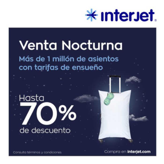 Venta Nocturna Interjet 70% de descuento en vuelos 30 de abril 2019