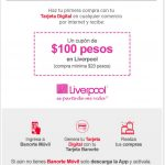 Banorte cupón de 100 pesos en Liverpool del 1 al 17 de mayo de 2019