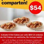 Cupones McDonald's: 9 hotcakes por sólo $54 pesos