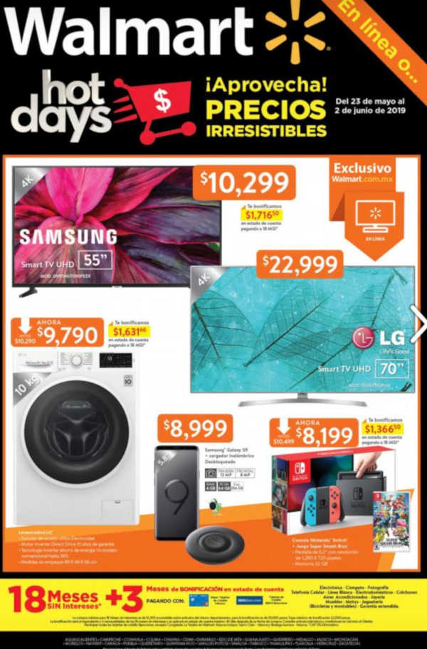 Folleto Walmart Hot Days Sale del 23 de mayo al 2 de junio 2019