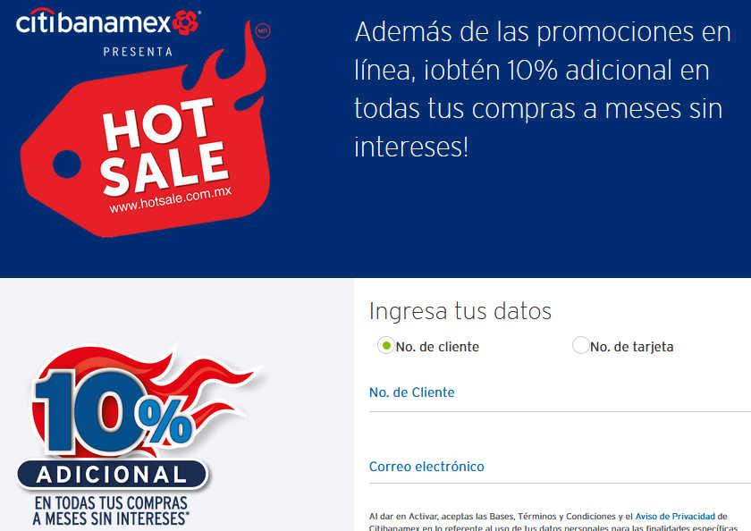 Hot Sale 2019 Banamex: 10% adicional registrando tu tarjeta CitiBanamex