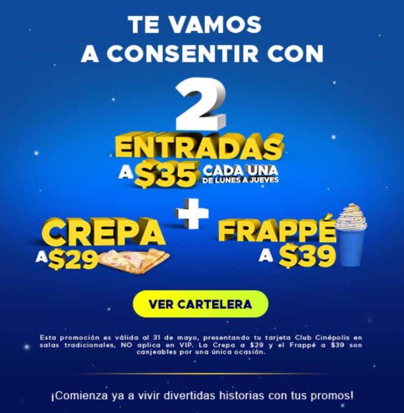 Promociones Cinepolis Boletos a $35 de lunes a jueves con tarjeta Club Cinépolis