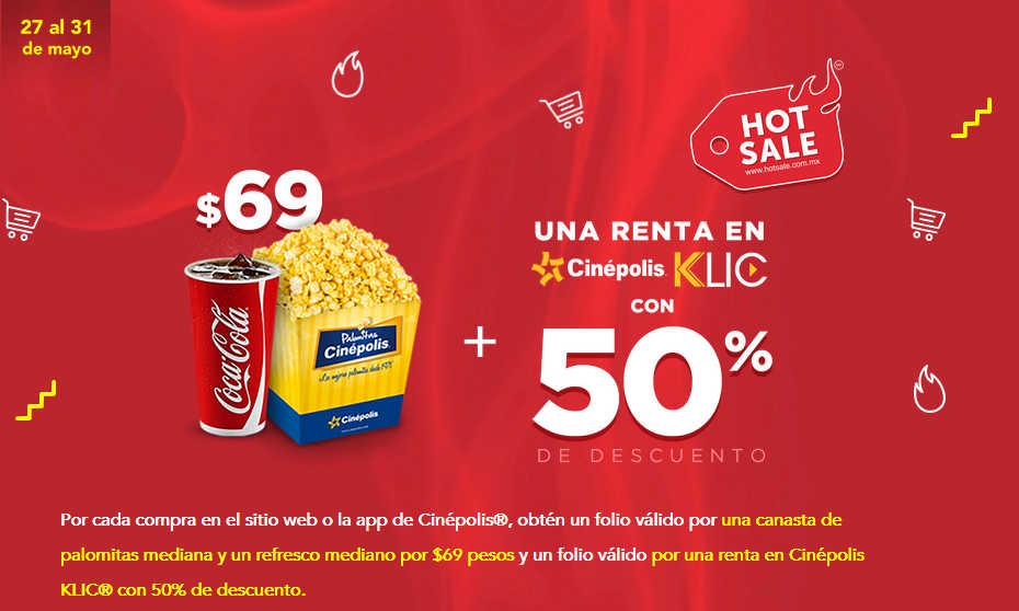 Promociones Cinépolis Hot Sale 2019: Combo a $69 + 50% de descuento en Cinépolis Klic