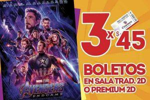 Cinemex: Matinée Película Avengers Endgame a $15 ó 3 boletos por $45