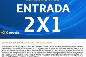 Cinépolis 2x1 en boletos usando cupón de Movistar Junio 2019