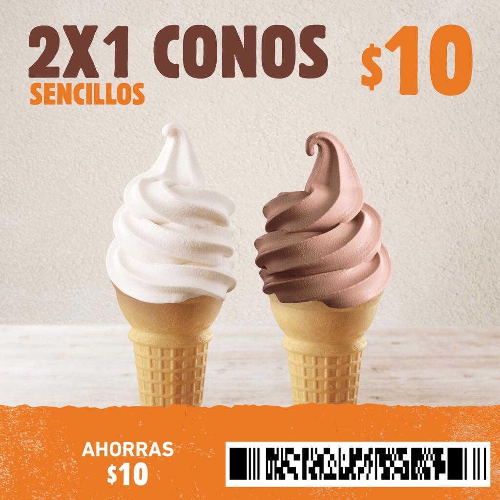 Cupón Burger King: 2×1 en conos de helado sencillos