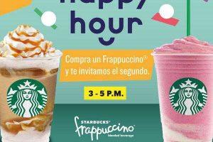 Happy Hour Starbucks: 2x1 en frappuccino de 3 a 5pm Junio 2019