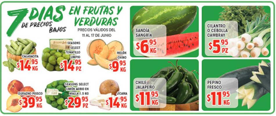 HEB: Frutas y Verduras 7 días de precios bajos del 11 al 17 de Junio 2019