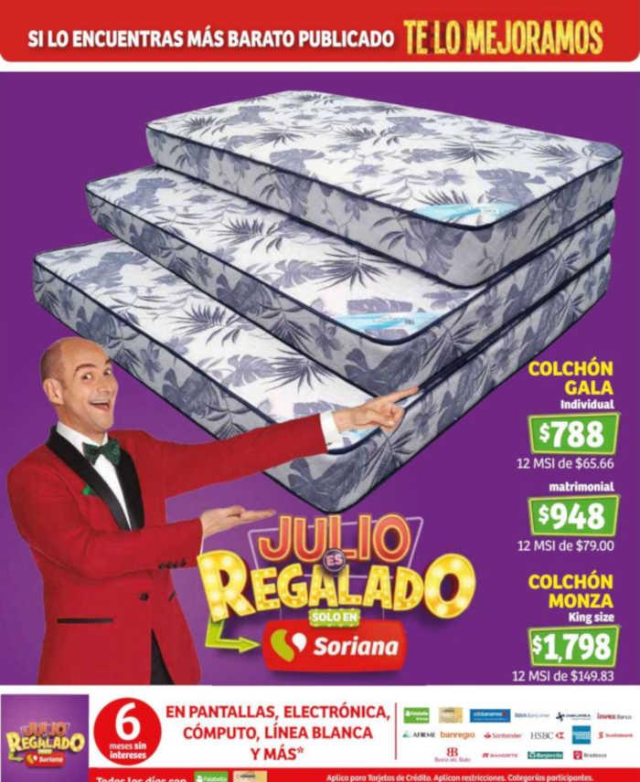 Julio Regalado 2019 en Soriana Ofertas de Colchones y MSI