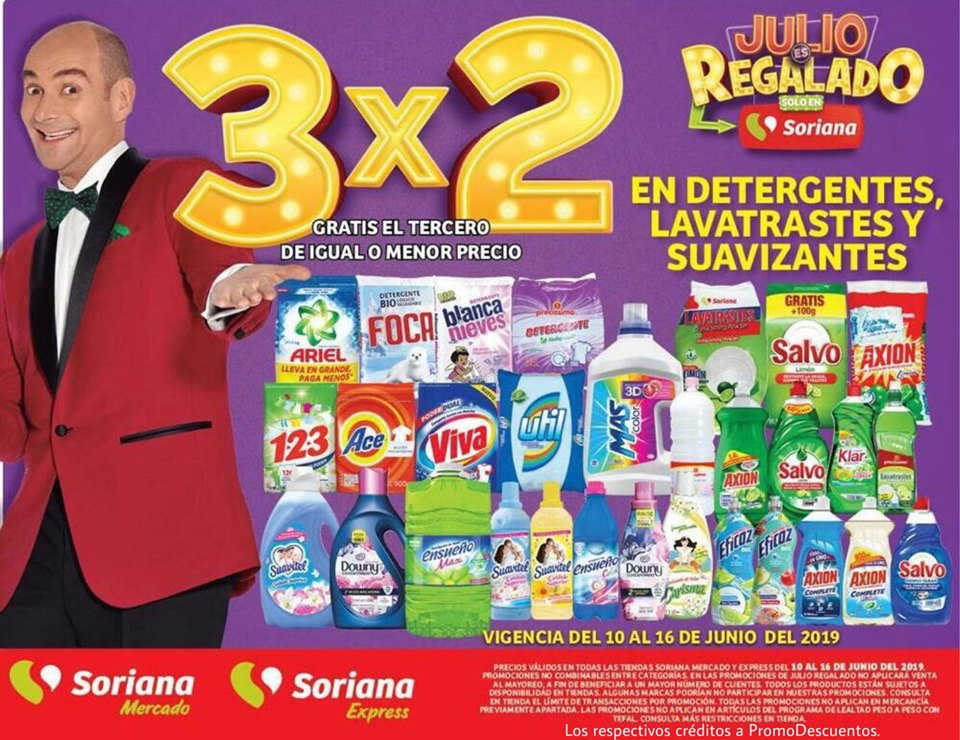 Julio Regalado 2019 Soriana: 3×2 en detergentes, lavatrastes y suavizantes