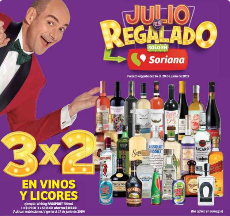 Julio Regalado 2019 en Soriana y Mega Soriana: 3×2 en vinos y licores