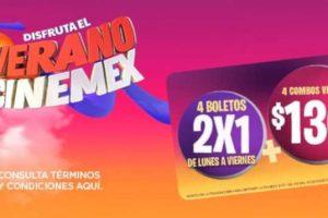 Promociones Cinemex Verano 2019: 4 boletos al 2×1 y 4 combos por $130