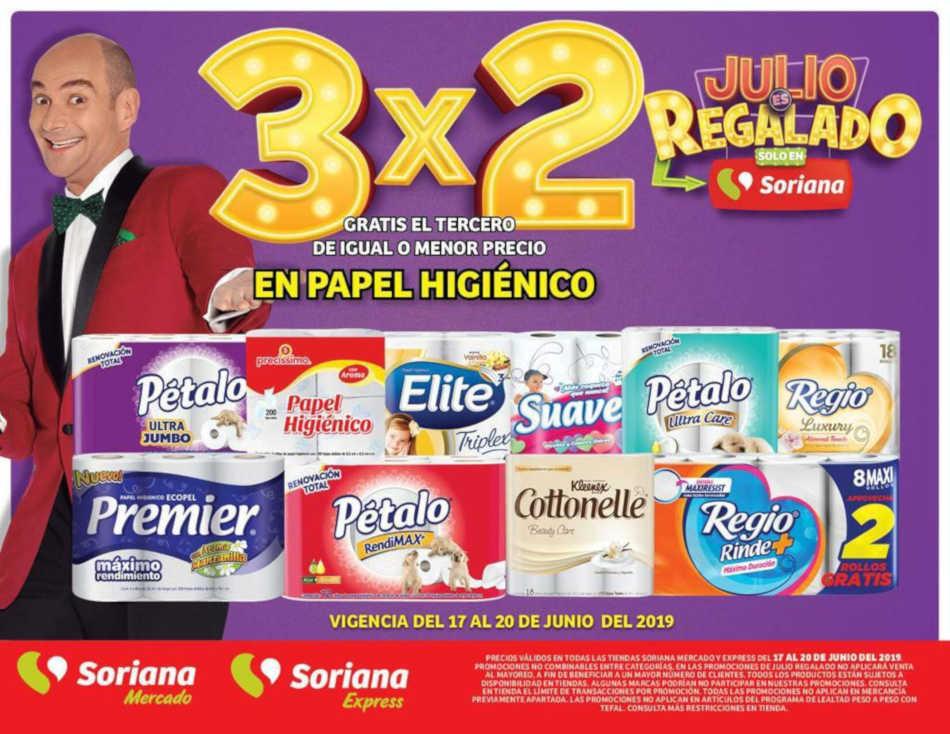 Soriana Julio Regalado 2019: 3×2 en todo el Papel Higienico