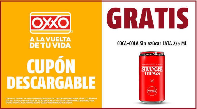 Cupón Oxxo Gratis Coca Cola Sin azúcar en lata de 235 ml