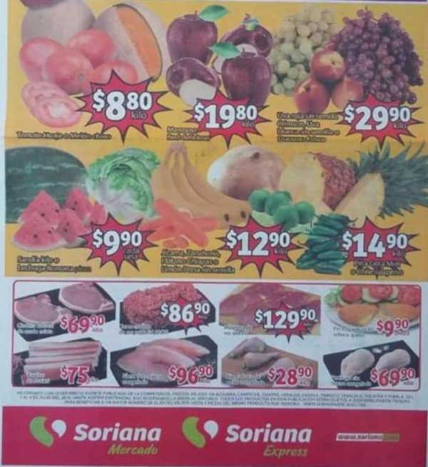 Frutas y Verduras Soriana Mercado del 2 al 4 de Julio 2019