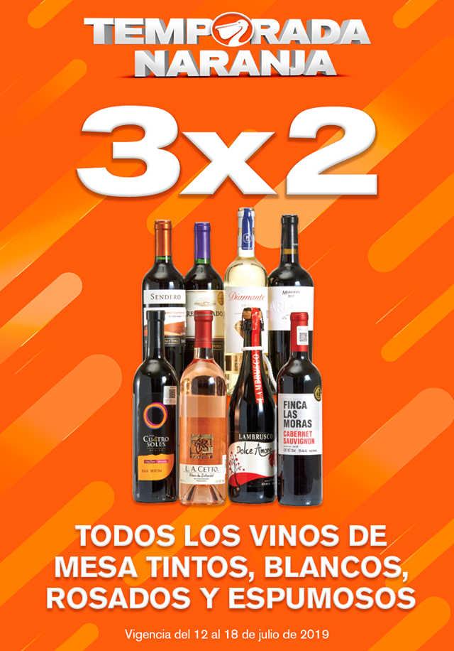 La Comer Temporada Naranja 2019: 3×2 en vinos de mesa tintos, blancos, rosados y espumosos