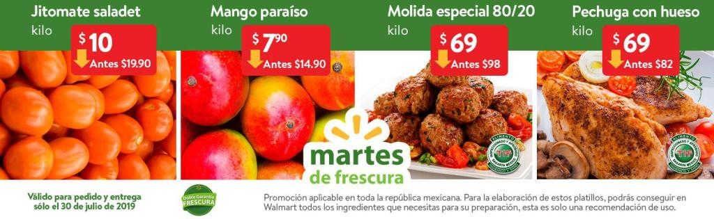 Frutas y Verduras Martes de Frescura Walmart 30 de Julio 2019