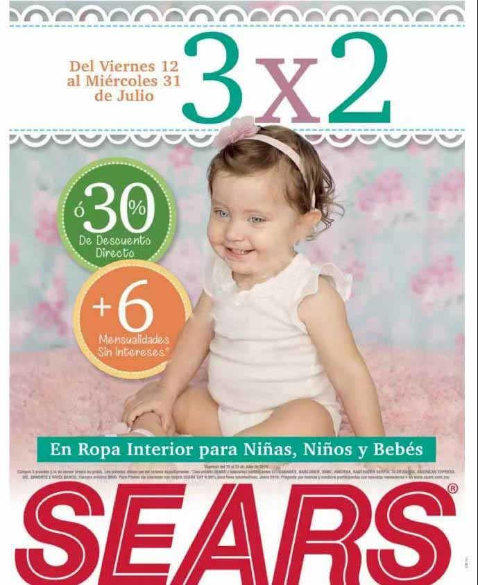 Sears: 3×2 en ropa interior para niños y bebés Julio 2019