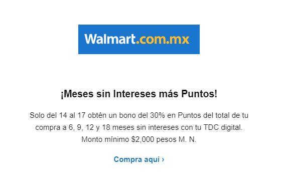 Walmart y Sam's Club – Bono del 30% en puntos BBVA Bancomer con tarjeta digital