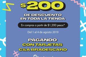 C&A: $200 pesos de descuento en toda la tienda con tarjeta Bradescard